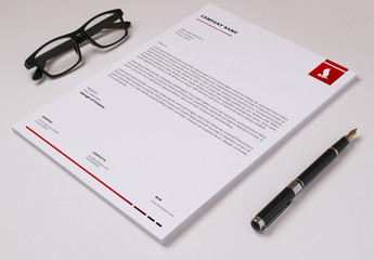 Business Letterhead Layout with Red Accents 2