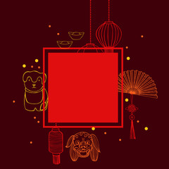 Chinese New Year  vector  frame