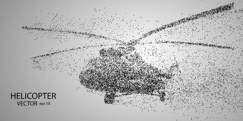 The helicopter of the particles. Crumbles into small molecules, atoms. Vector eps 10.