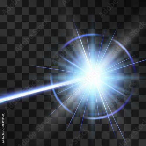 Laser beam light effect, burning explosion isolated on