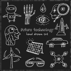 Future technology. Hand drawn doodle set. Sketches. Vector illustration for design and packages product.