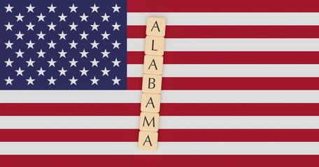US States Concept: Letter Tiles Alabama On USA Flag, 3d illustration