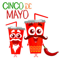 Cinco De Mayo. illustration perfect for menu design, coaster design, poster, flier, signage, party invitation. Characters cups of cola. Isolated on white background. Cartoon style.