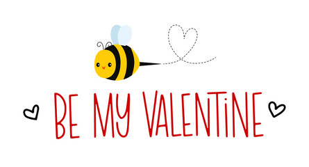 Vector illustration of a Valentine's Day greeting with a sweet honey bee flying over it