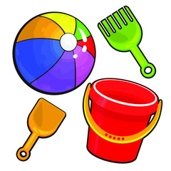 Vector set for beach. Ball, shovel and bucket. Isolated on white background.