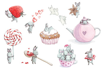 set of cute cartoon watercolor bunny