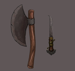 axe and dagger hand painted illustration