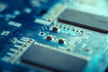 Electronic Board with semiconductor elements closeup. Concept of the technology of solid-state microelectronics