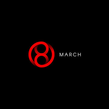 Eight march, happy international womens day, abstract minimal vector logo template on black background.