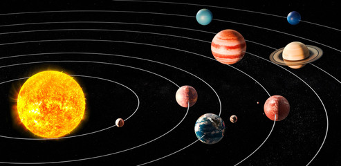 Sun and planets of the solar system, 3D rendering