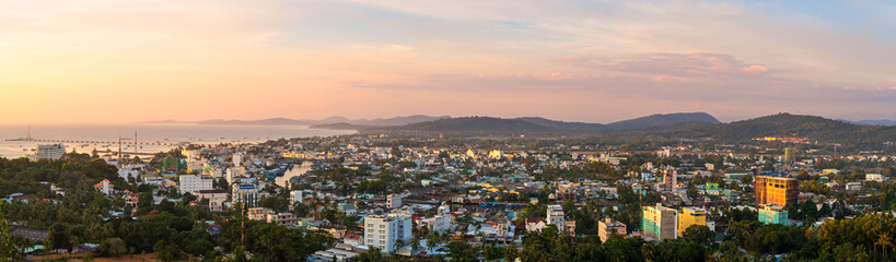 DUONG DONG, PHU QUOC, VIETNAM - NOVEMBER 21, 2017: Beautiful panoramic view from the high on town, sea, bay and hills at sunset