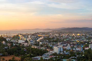 DUONG DONG, PHU QUOC, VIETNAM - NOVEMBER 21, 2017: Beautiful view from the high on town, sea, bay and hills at sunset