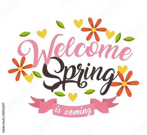 quotwelcome spring is coming floral ribbon decorative vector