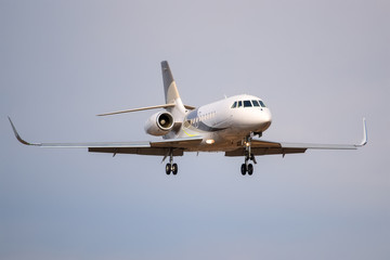 Small private business jet landing at the airport