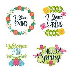 set of spring typographic badges floral labels vector illustration