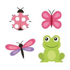 cute frog dragonfly butterfly ladybug vector illustration
