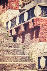 Old stone stairs background, selective focus, color toned picture.