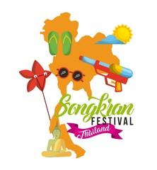 songkran festival thailand map flip flop sunglasses sun sky vector illustration