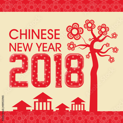 happy chinese new year 2018 greeting card