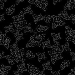 Rose silhouette in white hand drawn pattern on black background