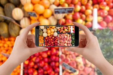 Girl with smartphone taking pictures of fruits on marketplace for her blog