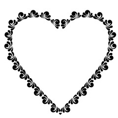Vector black painted heart
