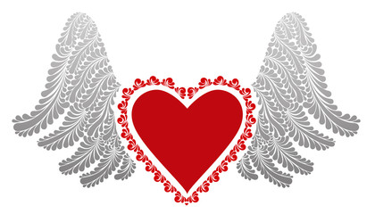 Vector painted red heart with wings