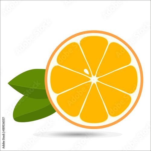 Orange slice with leaves isolated on white background