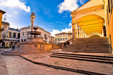 Ancient Italian square and architecture in town of Udine