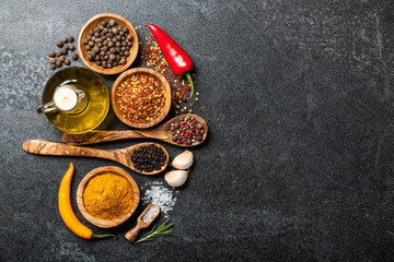 Cooking background with spices and herbs