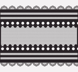 lace horizontal seamless close-up in monochrome silhouette vector illustration