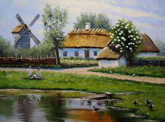 Village, rural oil paintings landscape, fine art. Spring.
