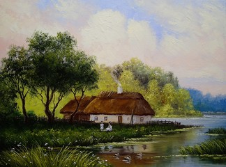 Village, rural oil paintings landscape, fine art. River.