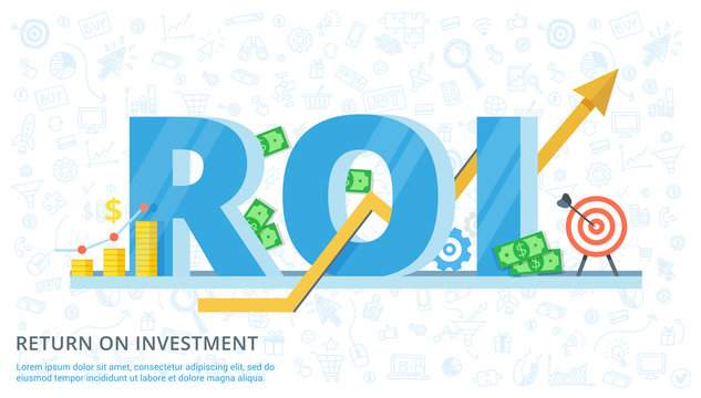Return on investment - vector flat banner. Illustration of efficiency of investments in business. ROI concept design with elements.