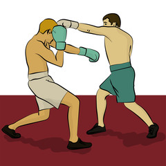 Two men are boxing. Olympic sport eps 10 illustration in turquois, red and white colors
