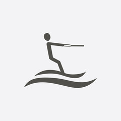 Vector icon of water skiing man silhouette