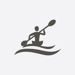 Kayaking vector icon