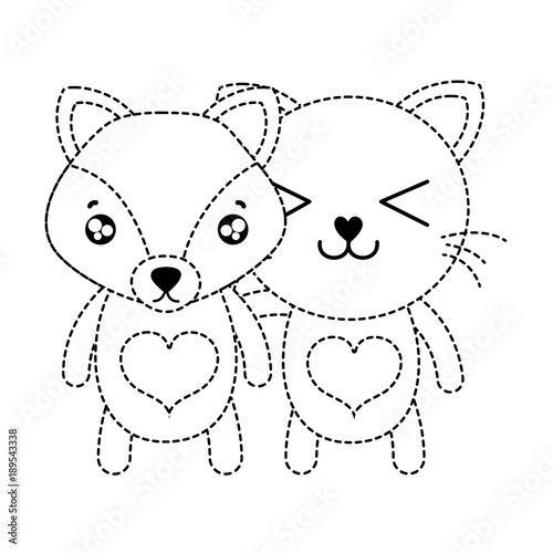 dotted shape fox and cat cute animal friends