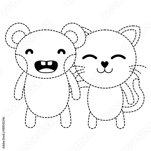 dotted shape bear and cat cute animals friends