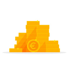 Stack gold euro coins isolated cartoon. Money Vector illustration