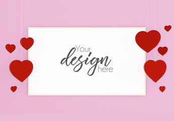 Valentine's Day Card Mockup with Hanging Red Hearts on Pink Background