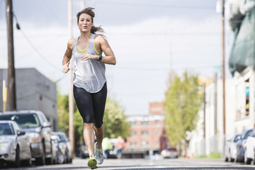 View of woman jogging, Portland, Oregon, USA