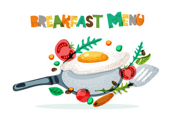 Breakfast menu healthy meal, vector design. Fried eggs, tomato, seasoning, frying pan and spatula. Morning recipe and cooking concept. Hand drawn doodle isolated food illustration and letters.