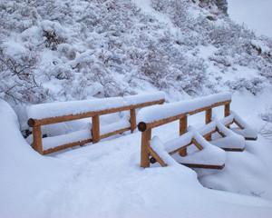 Apex Trai Snow Covered Footbridge Golden, CO