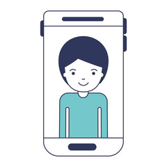 smartphone man profile picture with short hair in blue color sections silhouette vector illustration