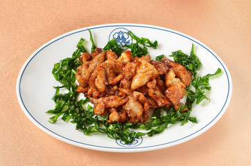 Sauteed sliced chicken with chili garnished with crispy vegetable