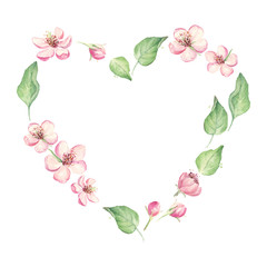 Floral heart of spring flowers, leaves, Valentine Day greeting card