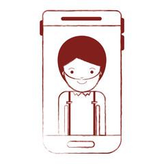 smartphone man profile picture with short hair and beard in dark red blurred silhouette vector illustration