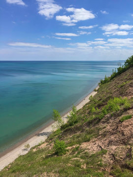 view of Lake Michigan from bluffs in Wisconsin