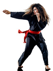 Garden Poster Martial arts one caucasian woman practicing martial arts Kung Fu Pencak Silat in studio isolated on white background
